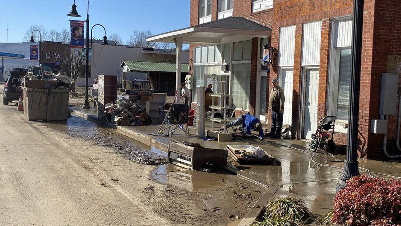 The water has gone down in Beattyville, and now begins the long process of cleaning up the mud...