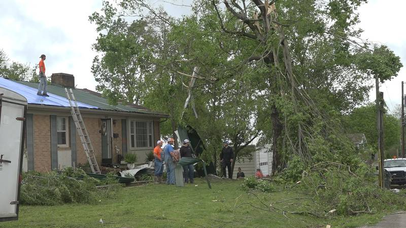 House in Tompkinsville damaged after tornado touches down Monday morning.