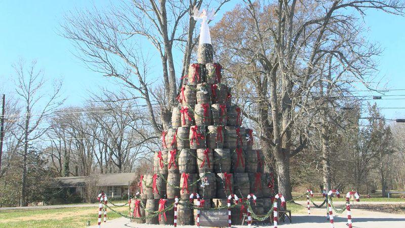 Bourbon barrel tree in Edmonson County.