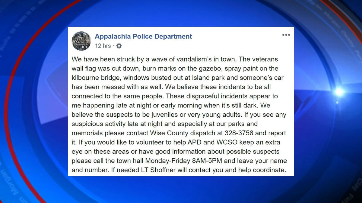 Appalachia Police Department reported a 'wave of vandalism' in their community on their...