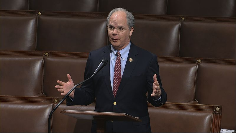 In this image from video, Rep. Brett Guthrie, R-Ky., speaks on the floor of the House of...