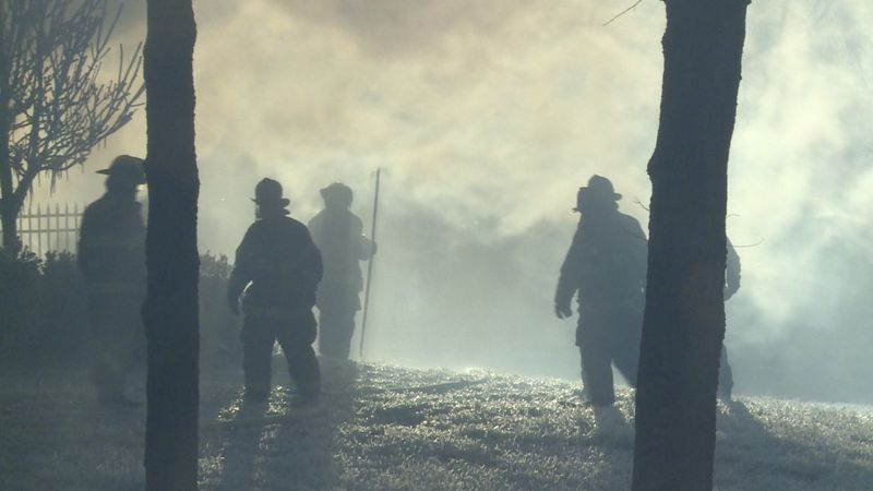 Firefighters from the Jessamine County Fire District, Nicholasville Fire Department, and...