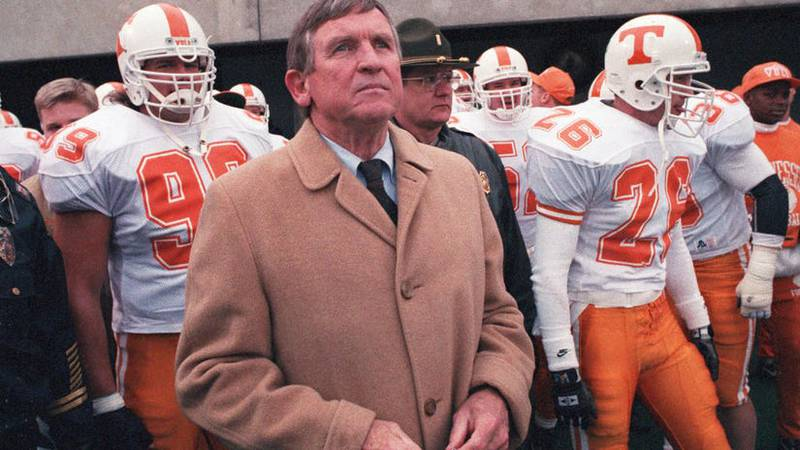 In his last game leading the Vols, Tennessee head coach Johnny Majors waits to take the field...