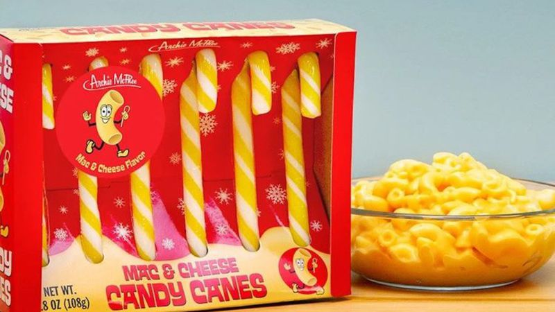 Mac and cheese-flavored candy canes