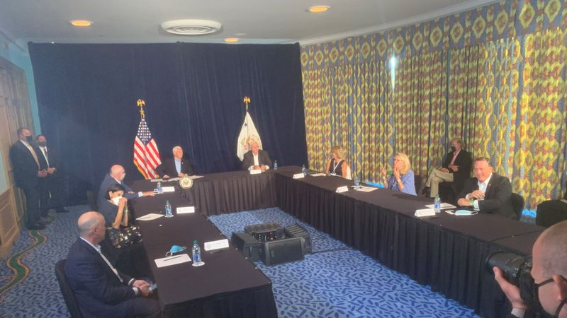 The head of the National COVID-19 Task Force, Vice President Mike Pence, met with members of...