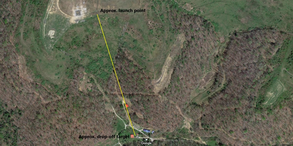 A satellite view of the approximate path the drone flew from a mountaintop to a home in a hollow.