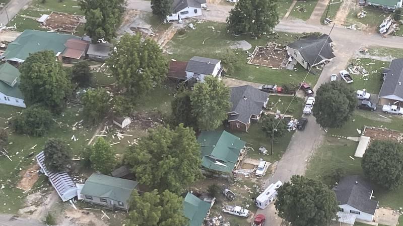 Flood damage in Humphreys County