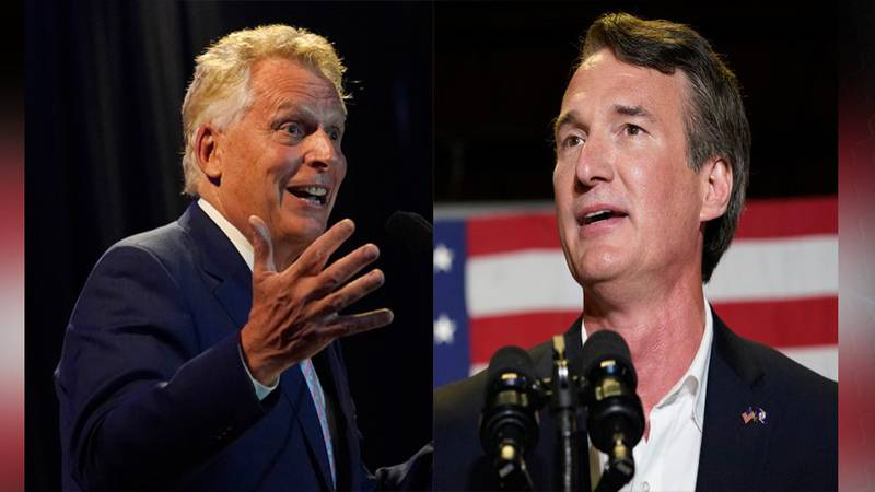 Democratic candidate and former Gov. Terry McAuliffe faces Republican Glenn Youngkin in...