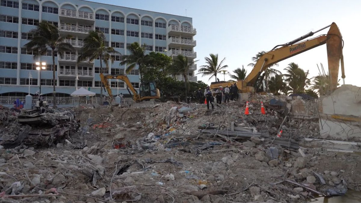 FILE - Recovery work continues at the Surfside, Fla., condo collapse site.
