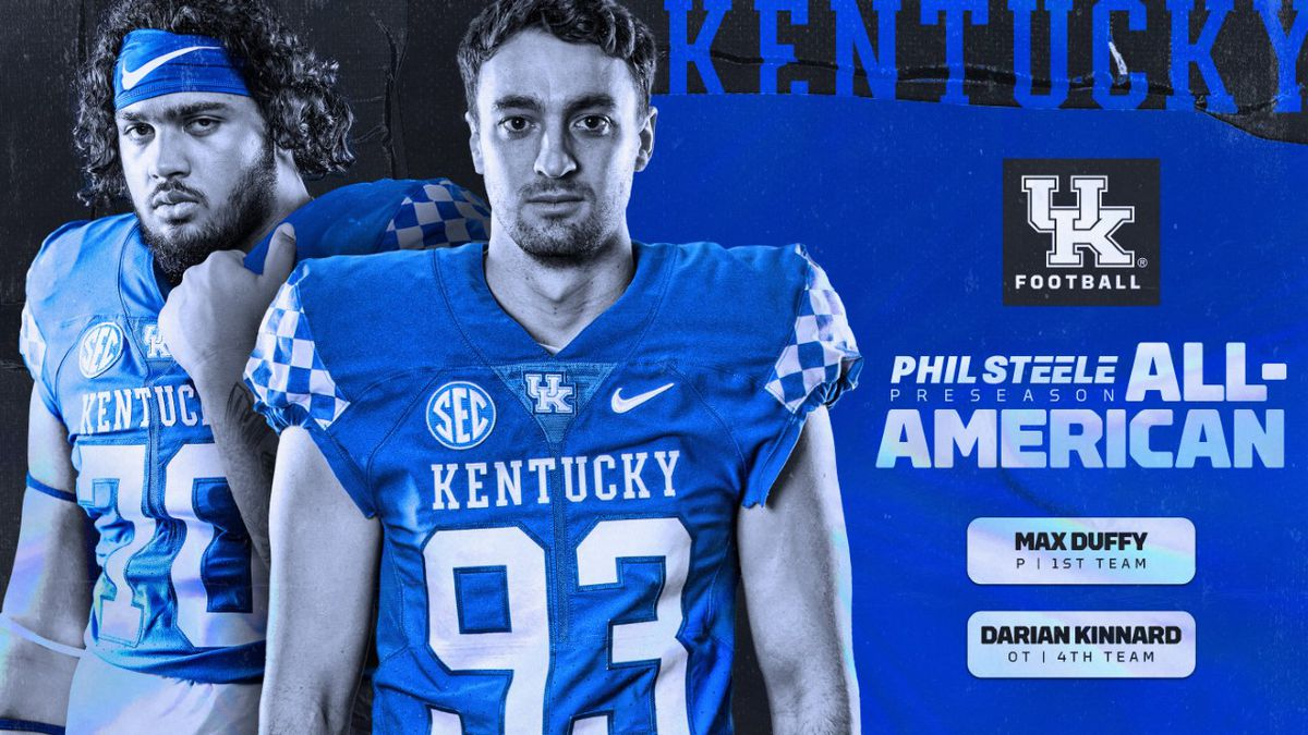 Senior punter Max Duffy and junior offensive tackle Darian Kinnard have been named to the 2020 preseason All-America team by Phil Steele's College Football.
