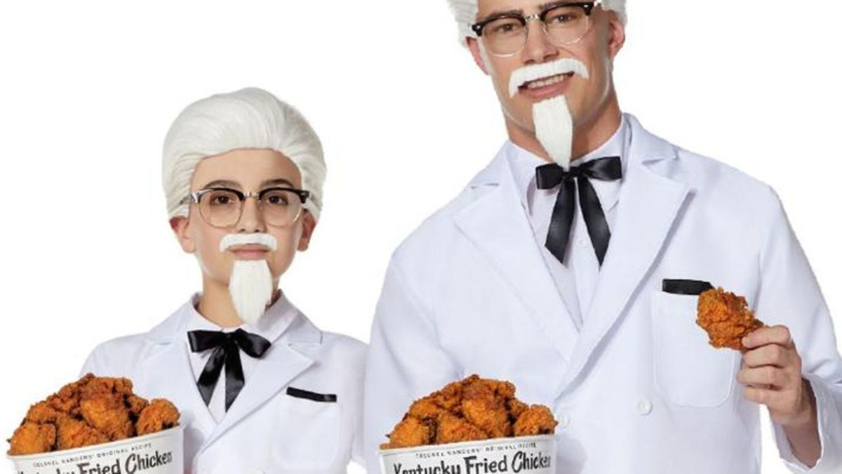 Colonel Harland Sanders devised his trademark look, white suit styled with a black string tie, in the 1950s. (Source: KFC Corporation)