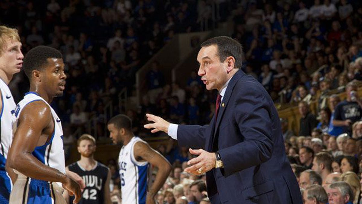 Duke Blue Devils coach Mike Krzyzewski leads his team into a matchup of Top-5 teams when they...