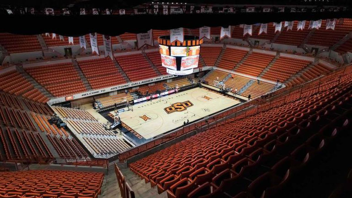 Jan 14, 2019; Stillwater, OK, USA; A view of Eddie Sutton Court at Gallagher-Iba Arena before the Baylor Bears vs Oklahoma State Cowboys. Mandatory Credit: Rob Ferguson-USA TODAY Sports