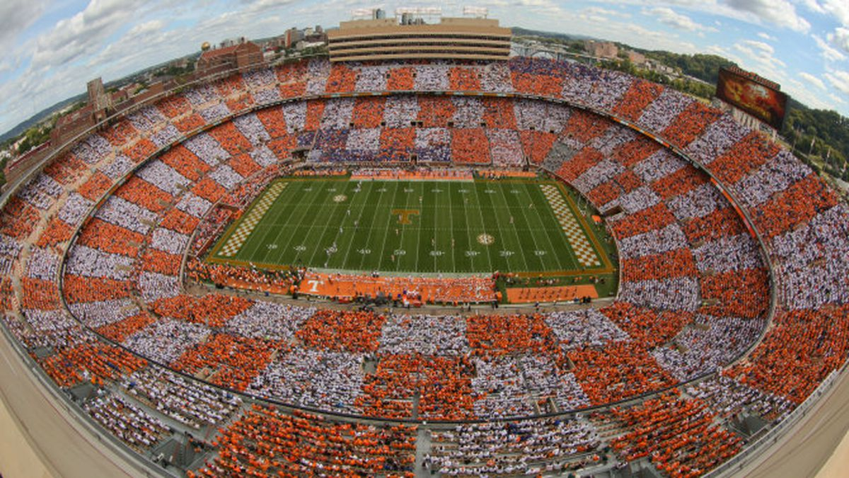 KNOXVILLE,TN - OCTOBER 04, 2014 -  Arial Shot of Checkerboard during the game between the Florida Gators and the Tennessee Volunteers at Neyland Stadium in Knoxville, TN. Photo By Matthew S. DeMaria /Tennessee Athletics