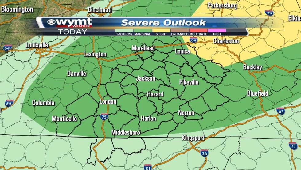 The Storm Prediction Center has most of our region under a marginal risk for severe weather...