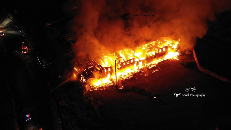 Jeff Riley took this aerial photo of the former Fugate's Water Park burning Monday night.