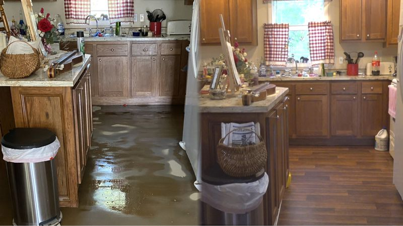 Jackson woman cleans up home after flood damage