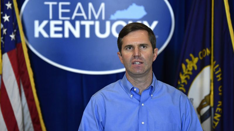 FILE - Kentucky Gov. Andy Beshear speaks at the Kentucky State Capitol in Frankfort, Ky.