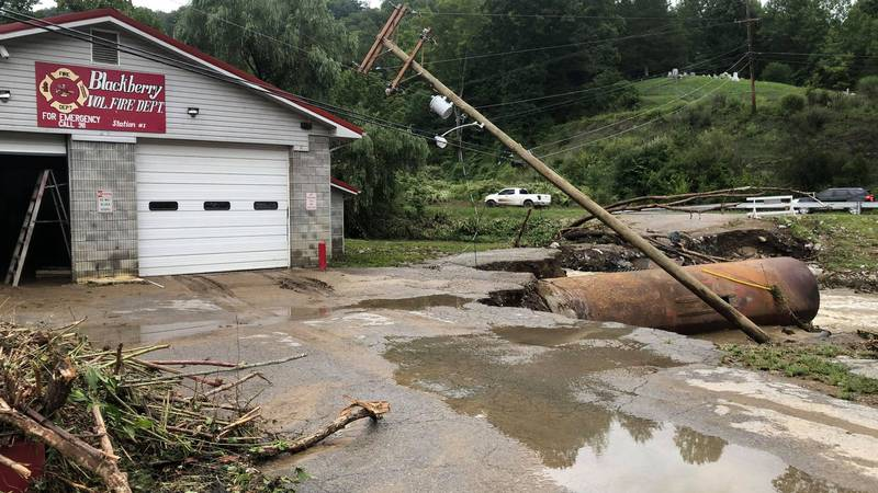 Flooding Monday, August 30, 2021 outside the Blackberry Volunteer Fire Department in...