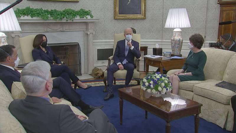 President Joe Biden meets with Republican senators at the White House on Monday night to...