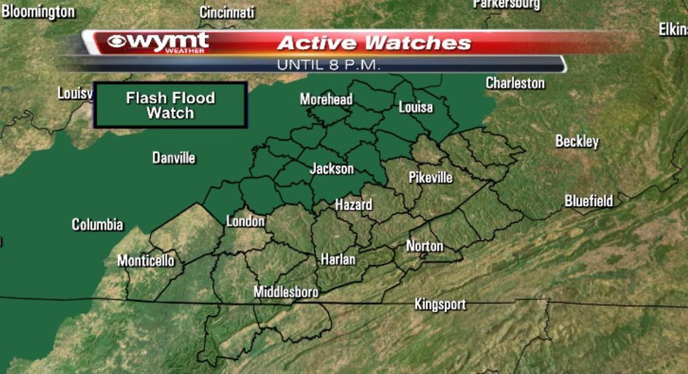 A Flash Flood Watch is in effect for counties north of the Hal Rogers Parkway/Highway 80...