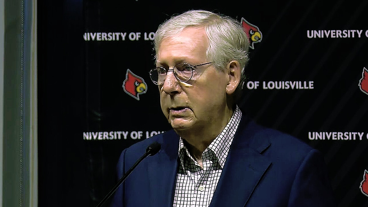 Sen. Mitch McConnell speaking at the University of Louisville on Monday, May 3, 2021.