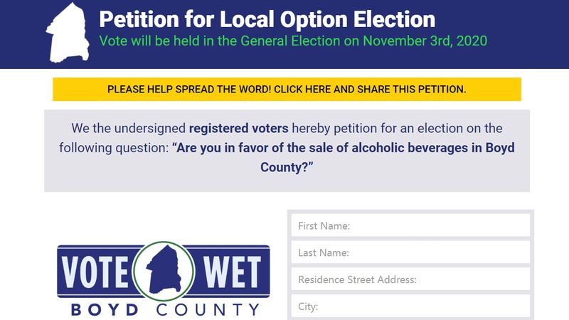 A petition is going around Boyd County, Kentucky to get a measure regarding alcohol sales on...