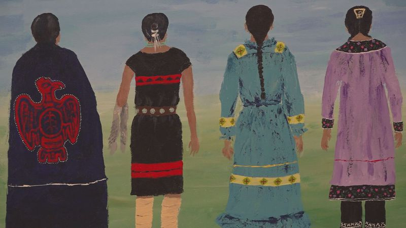 This painting, Circle Sisters by Brigit Truex, is one of many on display at The App for the...