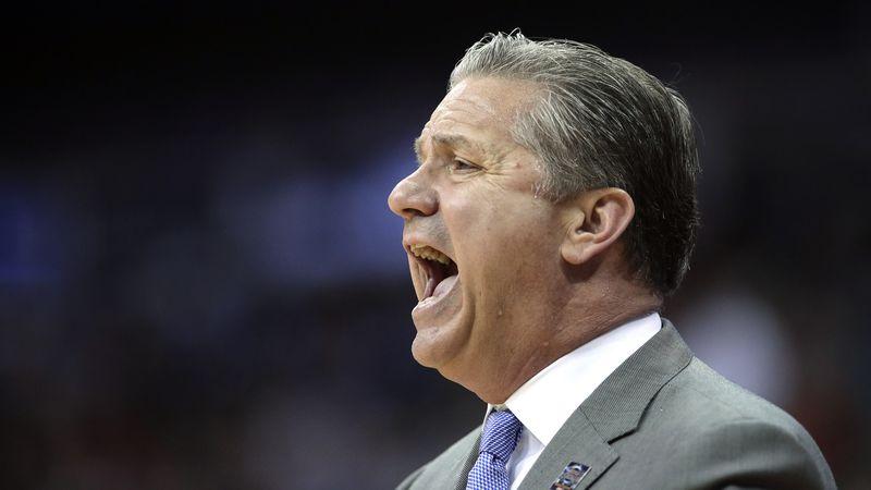 Kentucky head coach John Calipari is seen on the sidelines during the first half of the Midwest...