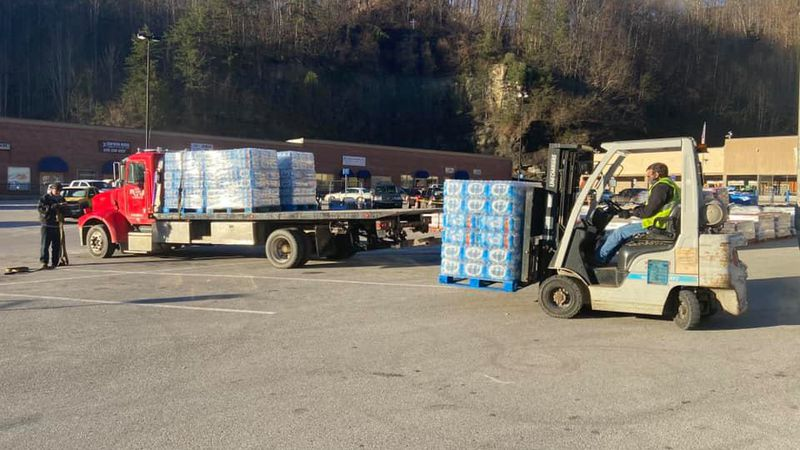 Walmart in Jackson donating water for the city to hand out.