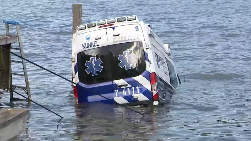 An ambulance was crashed into Irondequoit Bay near Newport Yacht Club on Sunday afternoon.