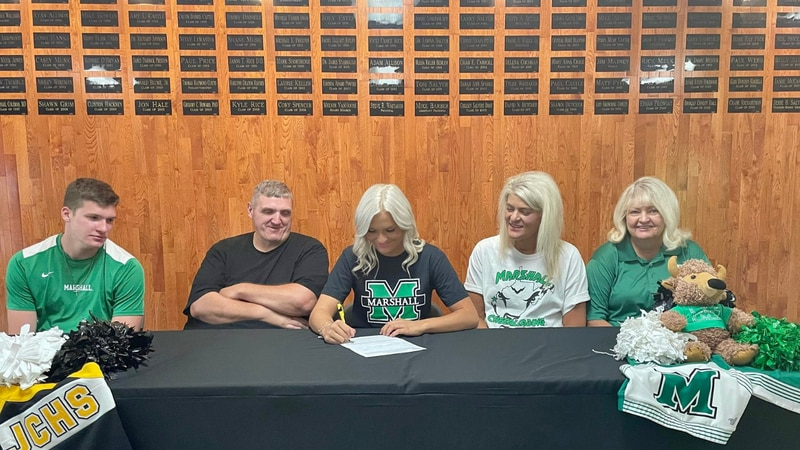 Johnson Central's Haley May signs with Marshall Cheer
