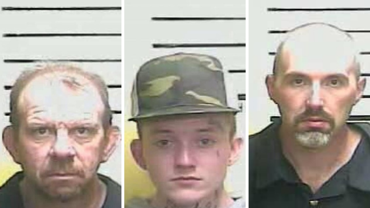 David Roark (left) and James Madden (center) were arrested in connection to a burglary at...