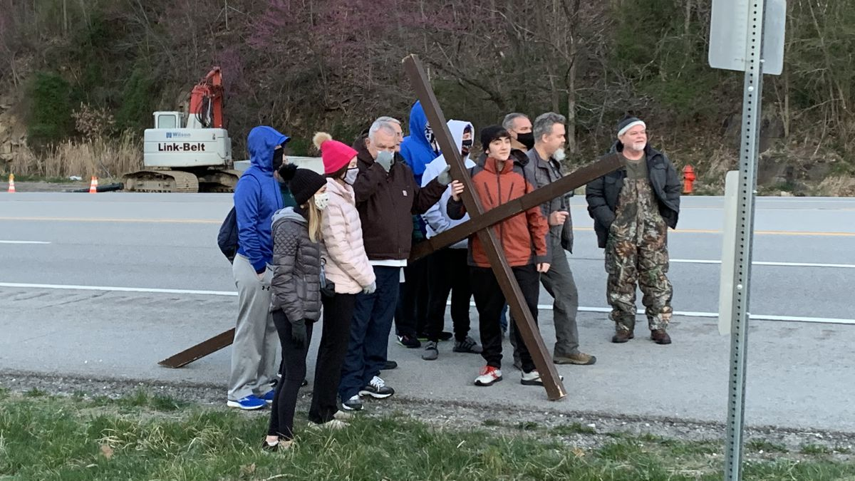 Church in Hindman conducts crosswalk for Good Friday
