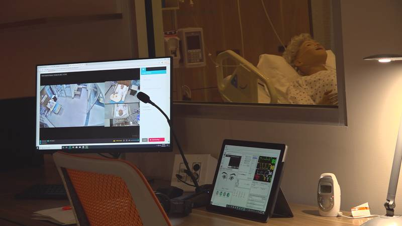 The simulation labs are set up with functioning medical equipment and monitoring stations to...
