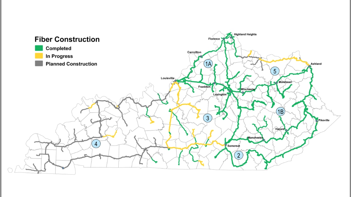 KentuckyWired's 1B and 2 rings will provide infrastructure for broadband connectivity in 39 counties.