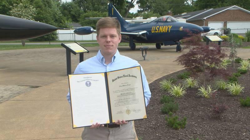 Ensign Riley Hogan graduates from the U.S. Naval Academy.