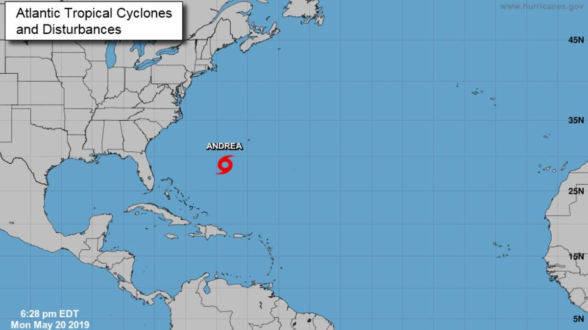Subtropical Storm Andrea formed in the Atlantic, the National Hurricane Center announced Monday evening. (Source: National Hurricane Center)