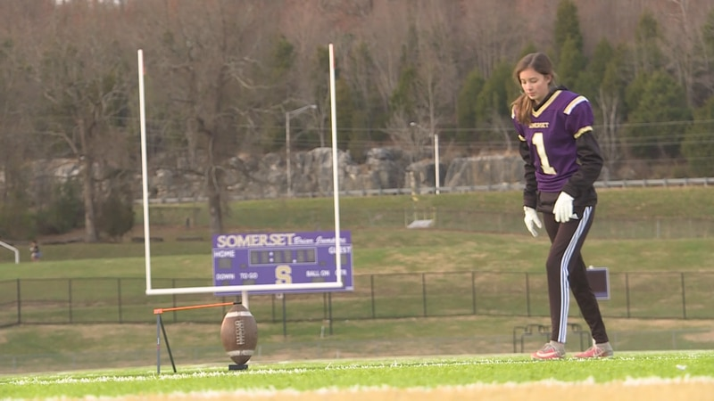 Somerset kicker Madison Ruble makes school history by becoming the first girl to score points...