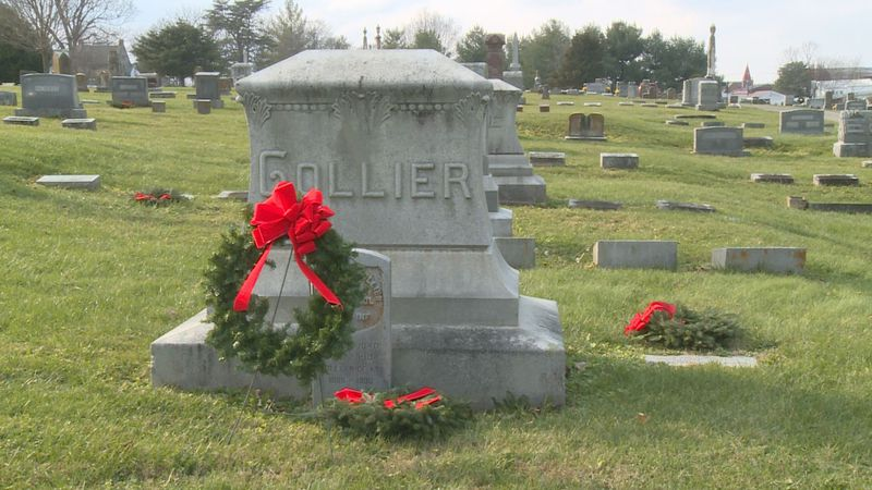 Some of the wreaths adorning veterans' grave sites at the Lancaster Cemetery.
