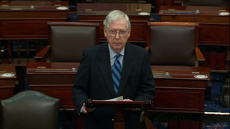"Senate Republican leader Mitch McConnell called out the ""lies"" that led to a mob attack on the..."