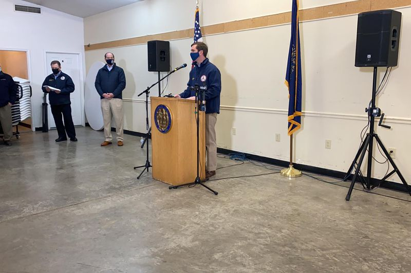 Gov. Andy Beshear held a news conference in Lee County Friday morning with an update on...