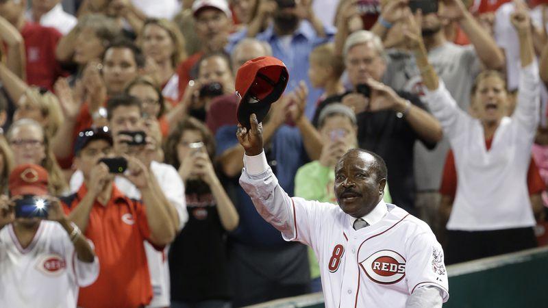 Hall of Fame second baseman Joe Morgan walks onto the field during ceremonies honoring the...