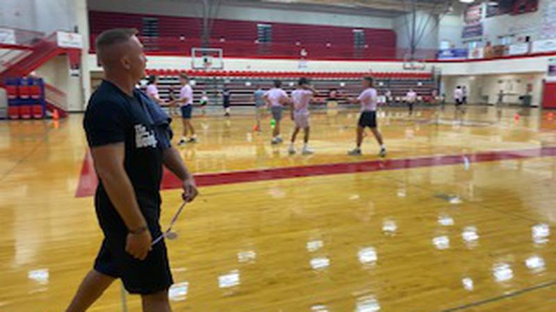 Georgetown police officers and Scott County firefighters participate in a dodgeball tournament...