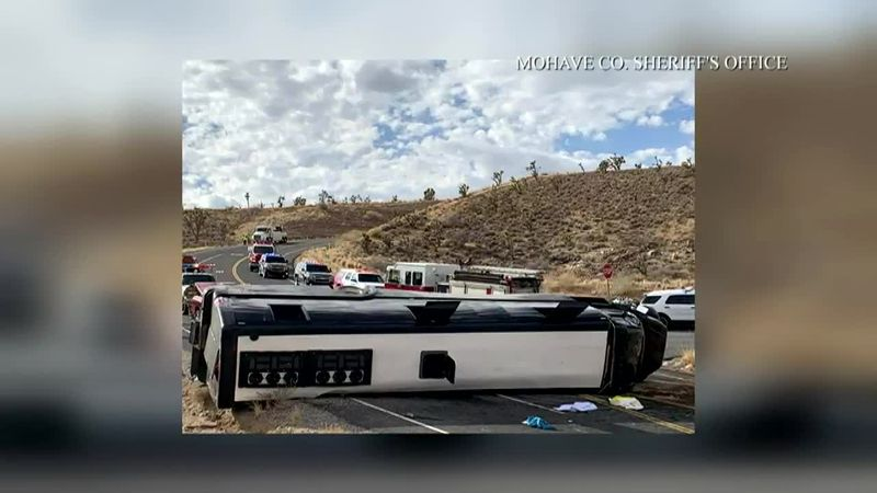 At least one person was killed and multiple others were injured in a bus crash near the Grand...
