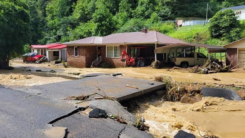 Flooding in Buchanan County in far SW VA/Courtesy Roanoke County Fire-Rescue & WCYB