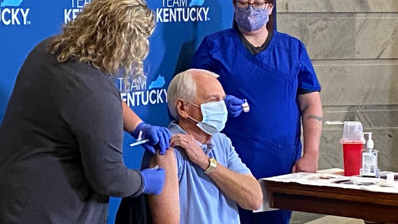 Former Kentucky governors have received the COVID-19 vaccine Monday.