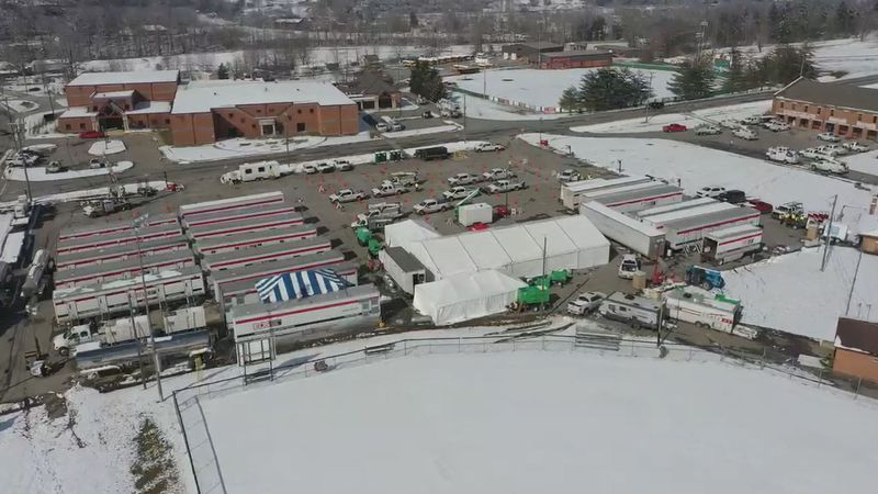 A drone image of the camps Daley and his team have set up.