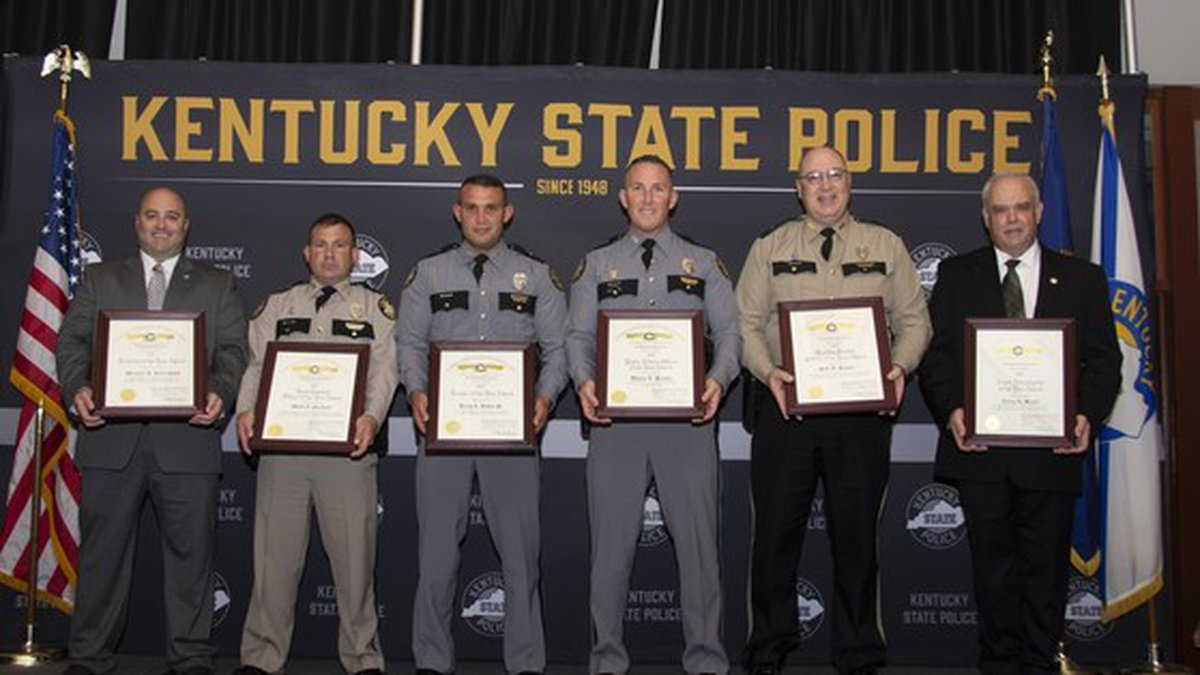 Photo Courtesy: Kentucky State Police  From left to right, Detective of the Year, Michael...