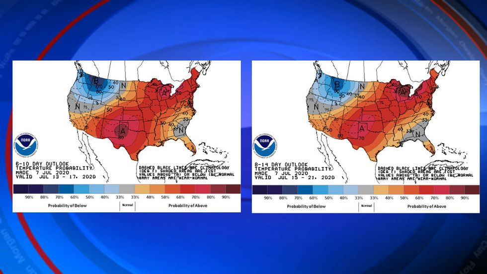 This picture shows the temperature outlook for the next two weeks from the Climate Prediction Center. The mountains stay firmly in the above normal category for the entire period.